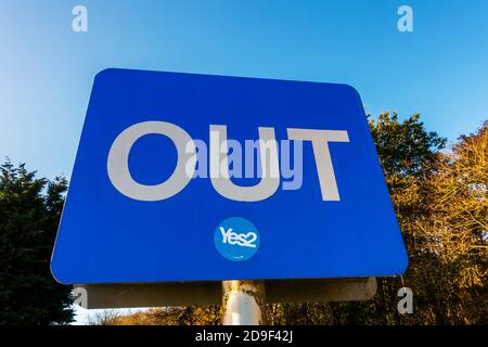 A sign saying YES to a second Scottish Independence Referendum on a sign saying OUT - Stock Photo