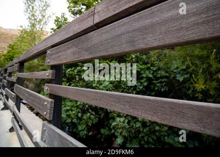 Wooden railings of the street - Stock Photo