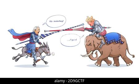 Joe Biden and Donald Trump attack each other with tournament lances like a medieval knights. Fighters ride a donkey and an elephant. Political cartoon - Stock Photo