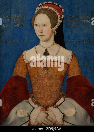Queen Mary I of England (1516-1558). England's first female monarch. Portrait by Master John. Oil on panel, 1544. National Portrait Gallery. London, England, United Kingdom. - Stock Photo