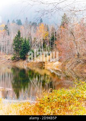 Stunning Lokve lake in Croatia Europe coastline Autumnal season color colors - Stock Photo