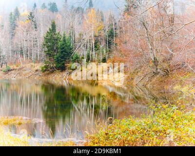 Stunning Lokve lake in Croatia Europe coastline Autumnal season colors color amazing scenic scenery - Stock Photo
