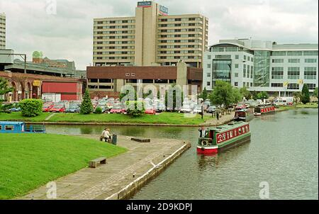 Canal Boats in the Leeds Canal Basin area before the 21st Century regeneration changed the scene. - Stock Photo