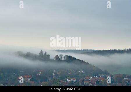 The german village Friedland in the autumn dust, a beautiful landscape