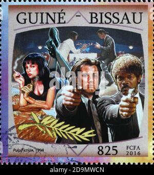 Movie Pulp fiction on postage stamp
