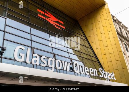 Exterior of Glasgow Queen Street railway station after the 2020 renovations, Queens Street, Glasgow, UK - Stock Photo