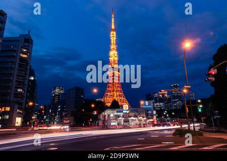 Tokyo Tower view during blue hour with light trails.