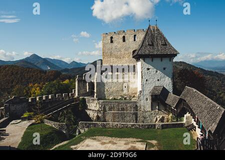 Medieval old castle in Celje city, Slovenia. Travel outdoor touristic background