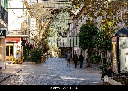 Street view of the town of Valldemossa, one of the most beautiful in Spain. - Stock Photo