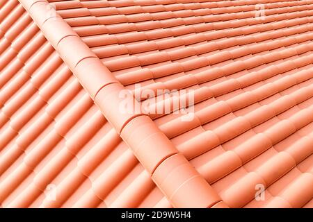 Closeup of new red color clay ceramic roof - Stock Photo