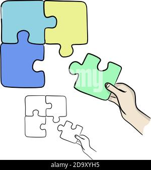 hands holding jigsaw puzzles vector illustration sketch doodle hand drawn with black lines isolated on white background. business matching concept.