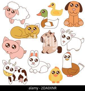Vector illustration of cute farm animals set in cartoon flat style. - Stock Photo