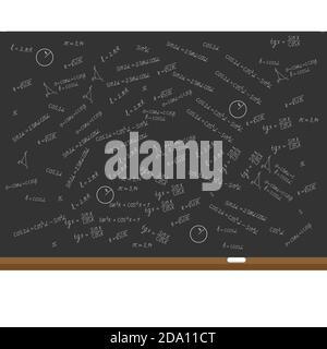 Mathematics, geometry background. Formulas, shapes, sine, cosine on black school board. Education concept. Vector flat illustration.