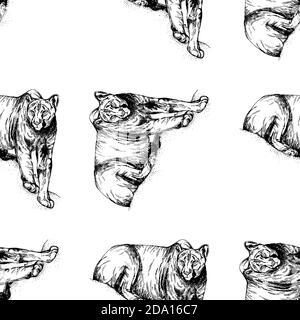 Seamless pattern hand drawn sketch style pumas isolated on white background. Vector illustration.