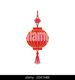 Chinese red holiday lantern flat vector illustration. Traditional lamp from China. - Stock Photo