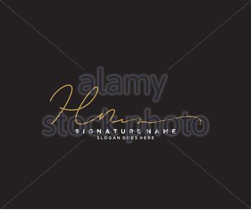 Letter HN Signature Logo Template Vector - Stock Photo