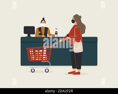 Grocery store during epidemic of virus.Cashier in protective medical mask is behind cash register serves customer pregnant woman.Red shopping cart