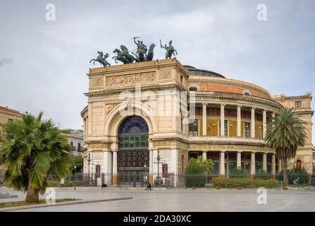 Palermo Politeama Theatre in Sicily, Italy - Stock Photo