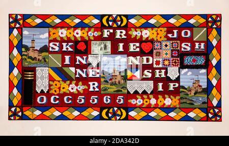 UK, England, Cheshire, Ellesmere Port, National Waterways Museum, Friendship crocheted panel - Stock Photo