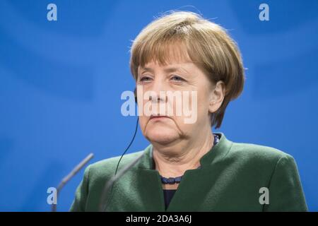 BERLIN, GERMANY - Jan 30, 2017: Chancellor of the Federal Republic of Germany Angela Merkel during a joint briefing with President of Ukraine Petro Poroshenko - Stock Photo