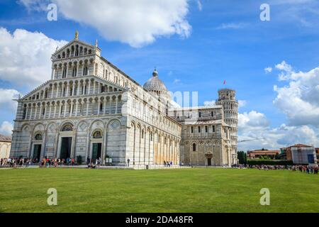 Pisa, Italy, September 22, 2015: Famous Piazza dei Miracoli (Cathedral Square) in Pisa, Italy featuring the Baptistry, the Cathedral and the Campanile - Stock Photo
