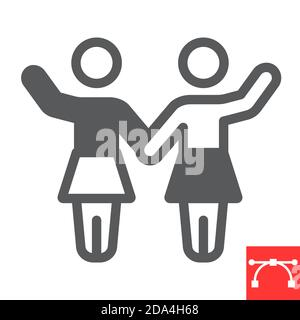 Sorority glyph icon, sexism and feminism, women rights sign vector graphics, editable stroke solid icon, eps 10. - Stock Photo
