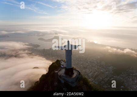 View of the Art Deco statue of Christ the Redeemer on Corcovado mountain in Rio de Janeiro, Brazil. - Stock Photo