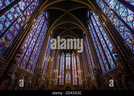 A portion of the stained glass on the interior of Sainte-Chapelle, the Gothic royal chapel on the ile de la Cite in Paris France