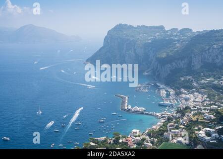 Nice seascape. The coast of Capri island on a sunny summer day.