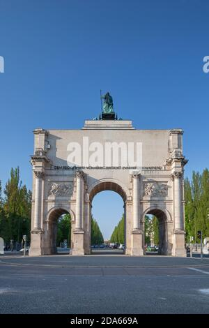 geography / travel, Germany, Bavaria, Munich, Siegestor (Victory Gate) with Leopoldstrasse (street) di, Additional-Rights-Clearance-Info-Not-Available