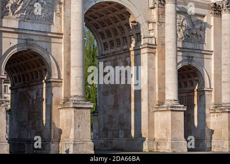 geography / travel, Germany, Bavaria, Munich, Siegestor (Victory Gate), Munich, Maxvorstadt (borough), Additional-Rights-Clearance-Info-Not-Available - Stock Photo
