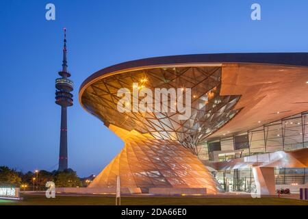 geography / travel, Germany, Bavaria, Munich, BMW world with Olympic Tower, Munich, Additional-Rights-Clearance-Info-Not-Available