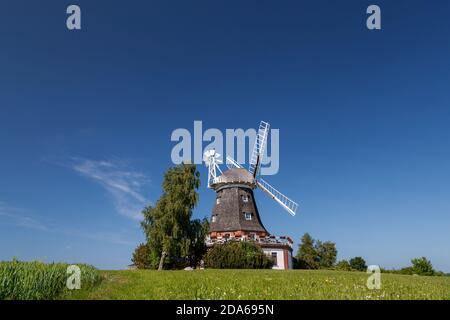 geography / travel, Germany, Mecklenburg-West Pomerania, Kluetz, wind mill Kluetz, Nordwestmecklenburg, Additional-Rights-Clearance-Info-Not-Available Stock Photo