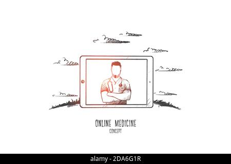 Online medicine concept. Hand drawn isolated vector.