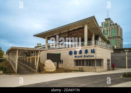 November 9, 2020: Miaoli railway station, located in Miaoli County, Taiwan, and served by Taiwan Railways. It is an important station on the Taichung - Stock Photo