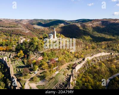 Aerial view of Ruins of The capital city of the Second Bulgarian Empire medieval stronghold Tsarevets, Veliko Tarnovo, Bulgaria Stock Photo