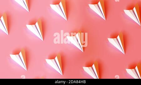 Paper planes in rows on a coral background. Travel or smm concept