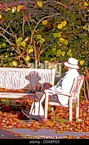 Bethesda, MD, November 10, 2020, USA: A graphic image of an individual enjoying a quiet Autumn afternoon.  Patsy Lynch/Alamy - Stock Photo