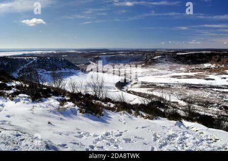 Hole of Horcum, Covered in Snow, Pickering, North Yorkshire, England, Great Britain United Kingdom - Stock Photo