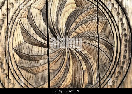 Details of wooden ornament on a door