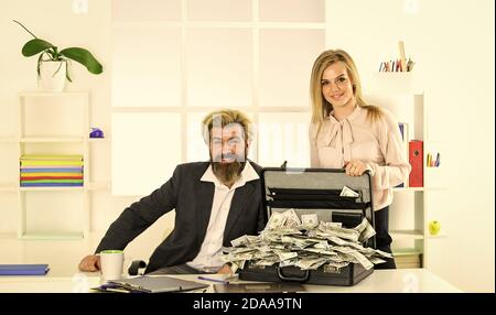 successful businessman with secretary. Internet earnings of fake money. bribe and money laundering. dollar currency cash. Wealth and rich. dirty money. partnership and business success. - Stock Photo