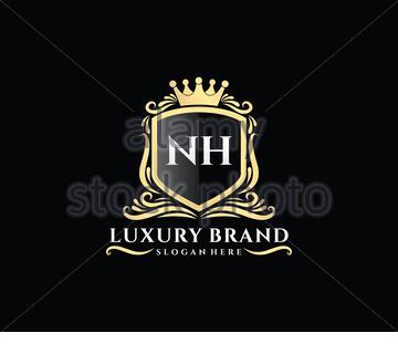 NH Initial Letter Gold calligraphic feminine floral hand drawn heraldic monogram antique vintage style luxury logo design Premium Vector - Stock Photo