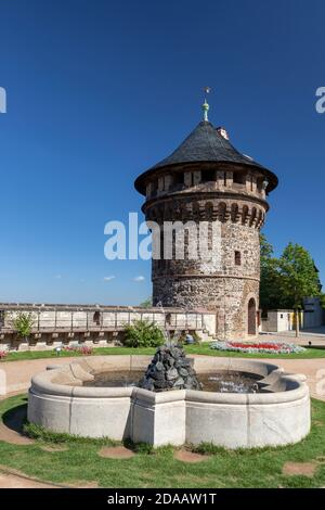 geography / travel, Germany, Saxony-Anhalt, Wernigerode, palace terrace with watchtower in the closing, Additional-Rights-Clearance-Info-Not-Available - Stock Photo