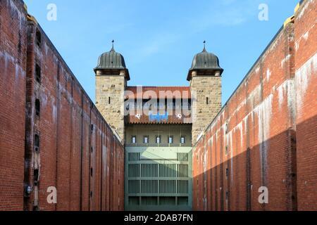 Old shaft lock, part pf Henrichenburg boat lift, Industrial Heritage site by Dortmund Ems Canal, North Rhine-Westphalia, Germany