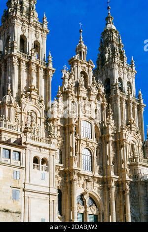 Cathedral of Santiago de Compostela. The Western façade of the cathedral as seen from the Praza do Obradoiro. French Way, Way of St. James. Santiago d - Stock Photo