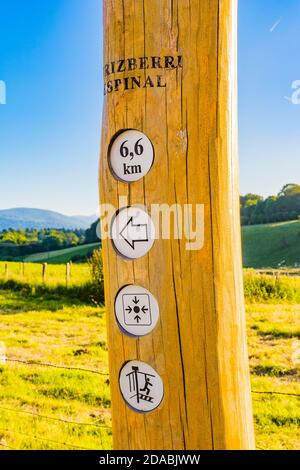 Vertical and informative signage of the next waypoints. French Way, Way of St. James. Roncesvalles - Orreaga, Navarre, Spain, Europe
