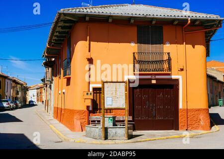 House, traditional construction. French Way, Way of St. James.Hospital de Órbigo, León, Castile and Leon, Spain, Europe