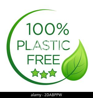 100 % plastic free emblem for packaging eco-friendly and organic products. Icon and logo design template in simple linear style. Illustration, vector - Stock Photo
