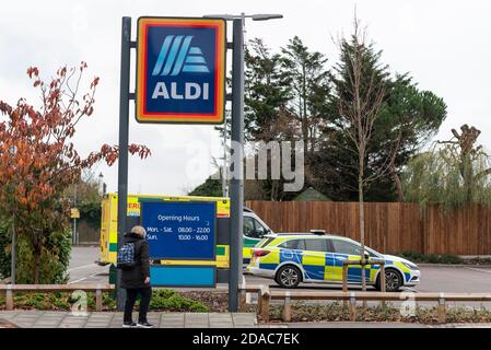 Police and ambulances have attended an Aldi store in Westcliff on Sea, Essex, UK, due to a fatality. Person looking at opening hours