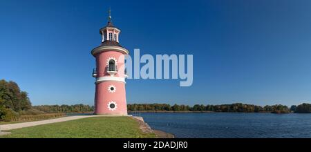 geography / travel, Germany, Saxony, Dresden, lighthouse in the castle garden Moritzburg, near Souther, Additional-Rights-Clearance-Info-Not-Available - Stock Photo